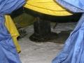 Внутри зимней палатки с печкой